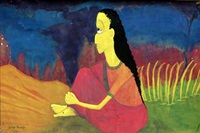 indian girl in sari by demas nwoko