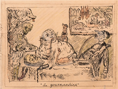 la gourmandise study by james ensor