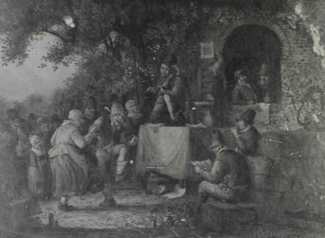 peasants dancing outside a village inn by heemskerck (-unattributable)