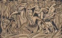 man fighting demon in jungle by ida made peguh