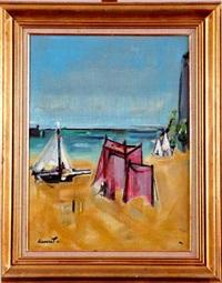 bateaux et tentes au bord de mer by jean marcel dannet
