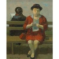 lady knitting by tully filmus