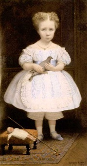 young girl holding a dove by charles lepec