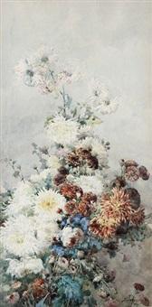 fleurs, dahlias, bleuets by françois rivoire