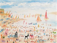 busy day on the beach by simeon stafford