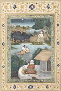 sohni crossing a river at night to meet mahinval by anonymous-indian (19)