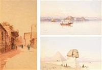 une rue à ghizeh au caire, la citadelle de corfou, le sphinx et les pyramides (3 works) by spyridon scarvelli