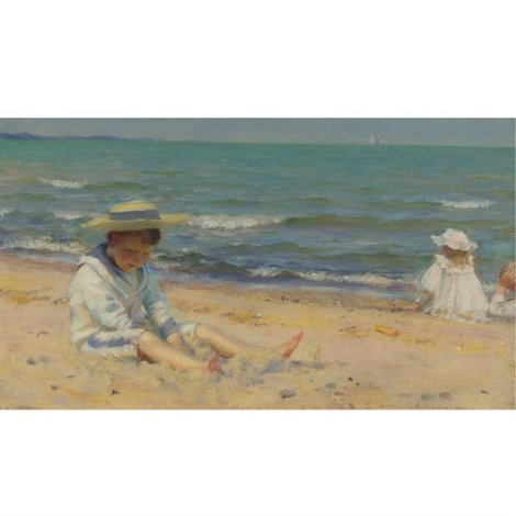 on the beach lake erie by charles courtney curran