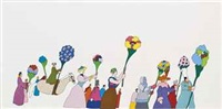 a group of pepperlanders holding blooms (from yellow submarine) by anonymous (20)