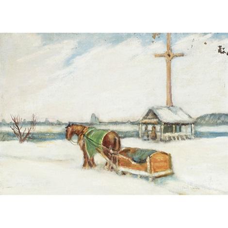 horse pulling sleigh by paul archibald octave caron on artnet
