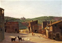 parti i ariccia, med udsigt mod bakkerne, hvor vejen gaaer til genzano. morgen by hans jörgen hammer