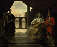 an elegant couple playing music on a terrace looking out over a canal with a maid pouring wine by pieter de hooch
