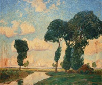 riverside landscape by otto ackermann