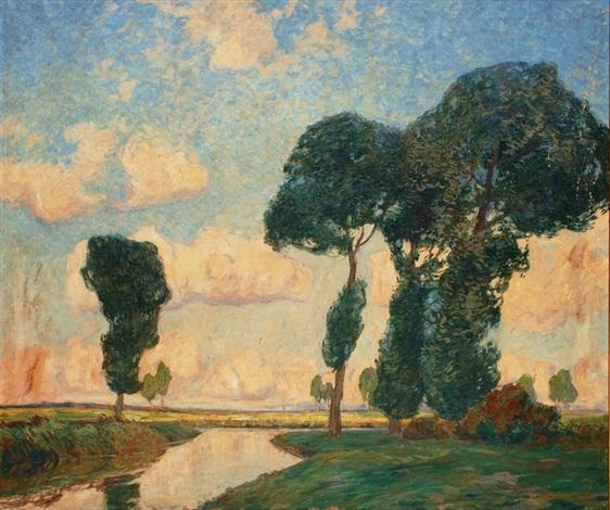 riverside landscape by otto ackermann
