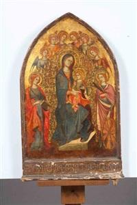 vierge à l'enfant entouré de saintes et d'anges by sano di pietro