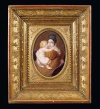 portrait d'une mère tenant son enfant dans ses bras by louis françois aubry