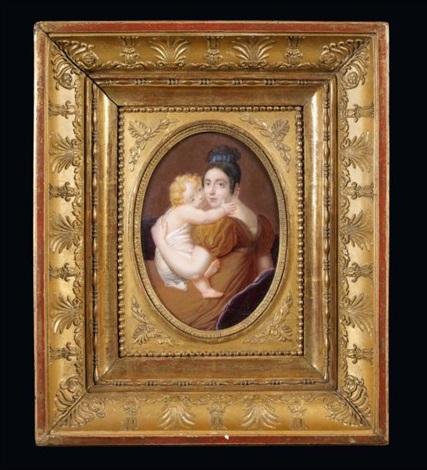 portrait dune mère tenant son enfant dans ses bras by louis françois aubry