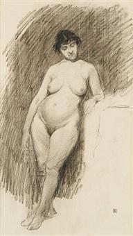 femme nue accoudée by armand rassenfosse