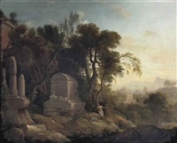 pyrame and thisbe in a wooded landscape with classical ruins by pierre antoine patel