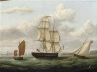 a royal naval frigate and other shipping off cork by george atkinson