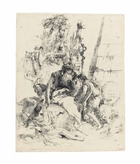 two magicians and two boys, from: scherzi di fantasia by giovanni battista tiepolo