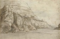 a rocky gorge with a monastery on a narrow track by pauwels van hillegaert