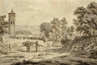 vue d'albano et de l'église de san paolo by jean grandjean