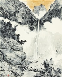 dipping a brush in spring rain to paint guryong waterfall by sa suk-won