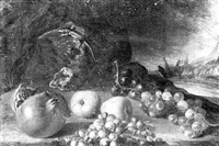 a still life of a pomegranate, apples and grapes scattered on the ground beneath a lizard on a rock by aniello ascione