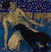 akt mit panther (+ landschaft mit maria und dem christuskind, umgebenvon tieren, verso) by ludwig kainer