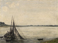 eel fishing in the lower rhine by maximilien (max) clarenbach