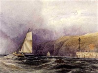 voiliers le long d'une falaise by theodore henry adolphus fielding