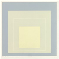 two color lithographs from white line squares (series one) by josef albers