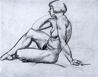 musing nude by jános györgi (georg johann) simon