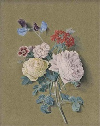 a spray of white and pink roses, sweet william, sweet pea and lychnis chalcedonica, with a small blue butterfly by alexis nicolas perignon the elder
