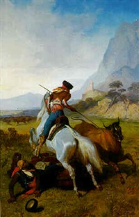 huntsmen bringing down a steer by louis eugène ginain
