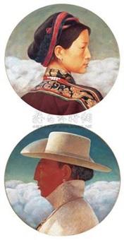 高原人·木里姑娘 高原人·阿里汉子 (2 works) by ba huang