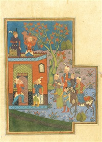 fitneh bringing a goat on her shoulders to bahram gur (from nizami's khamsa) by anonymous-persian-safavid (16)