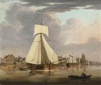 vue du port de dordrecht by jan hendrik boshamer