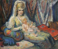 a girl in a theatre costume with a child by frantisek naske
