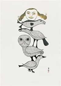 birds and woman's face by kenojuak ashevak