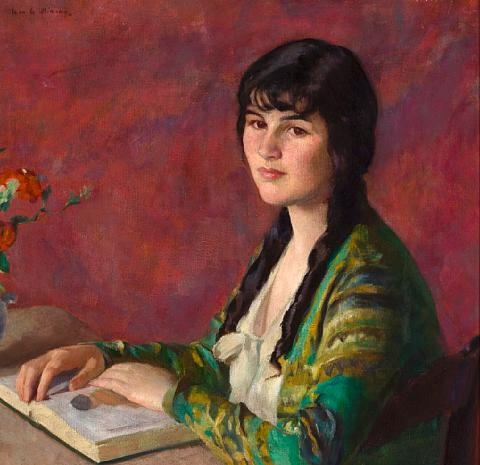 young woman reading by ivan g olinsky