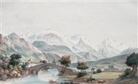 le mont-blanc depuis le pont saint martin by jean-françois albanis de beaumont
