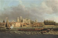 view of westminster from lambeth with a royal barge in the foreground by samuel scott