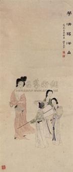 华清赐浴图 by jiang xun