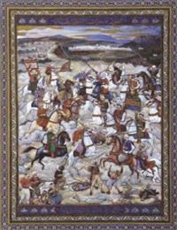 choc de cavalerie entre turcs et arabes by mohammed racim