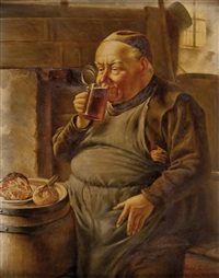 mönch bei speis und trank by franz leitgeb