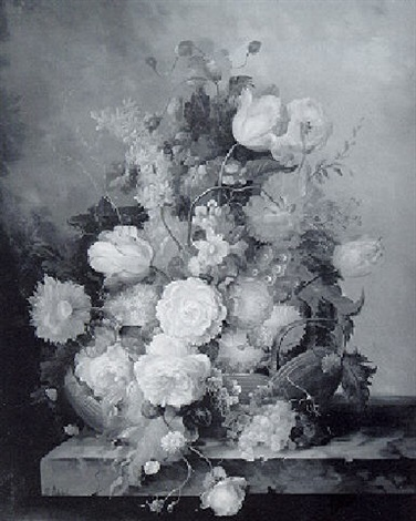 basket of spring flowers on a marble ledge by francois gabriel