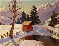 refuge de montagne en hiver by mikhail markianovich germanshev