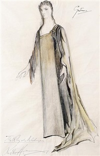 gutrune costume design for götterdämmerung (+ another pair; 3 works) by leslie hurry